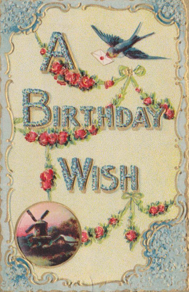 A Birthday Wish Antique Greeting Postcard