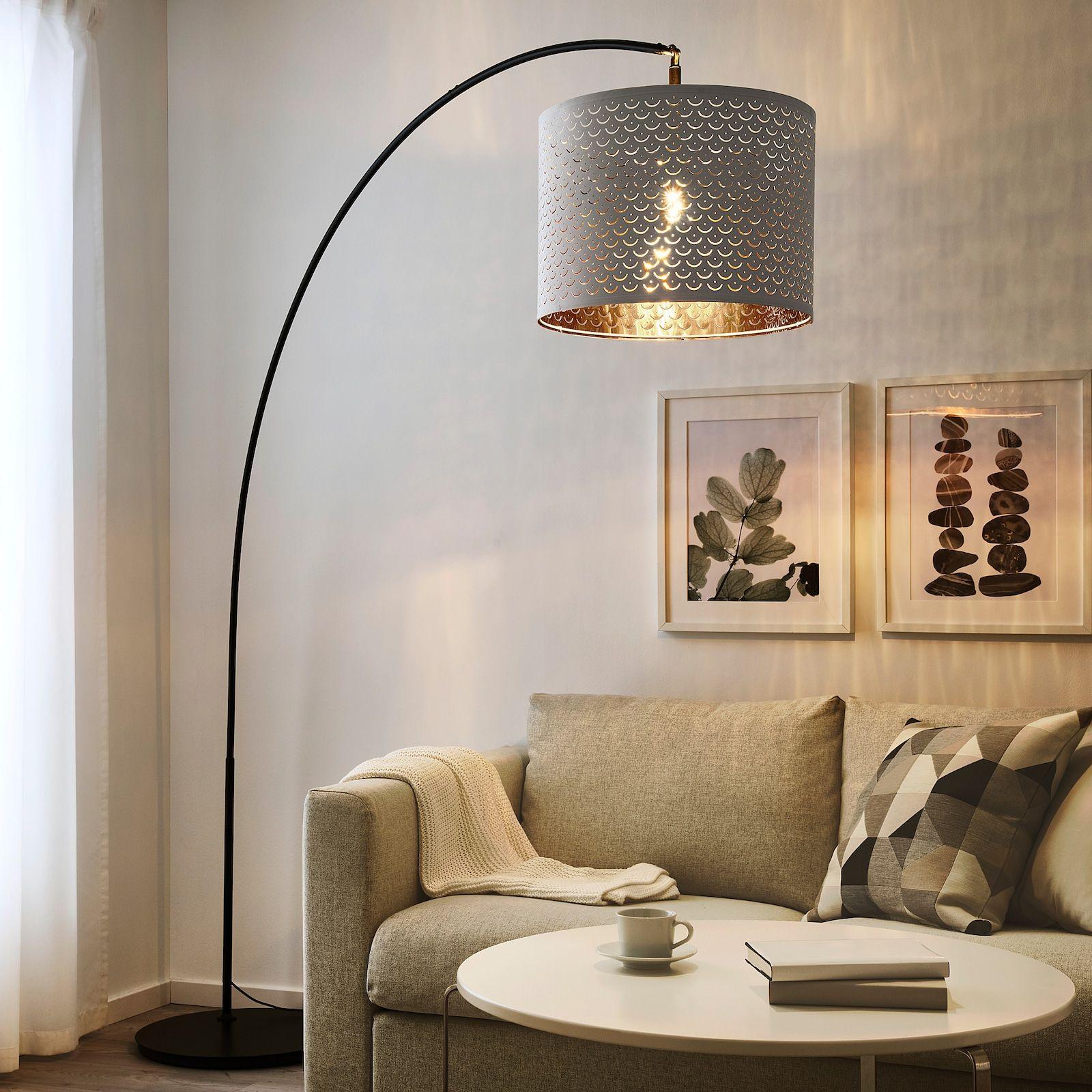 Nymo Skaftet Floor Lamp Arched White Brass Color Ikea In 2021 Floor Lamp Base Floor Lamp Mid Century Floor Lamps