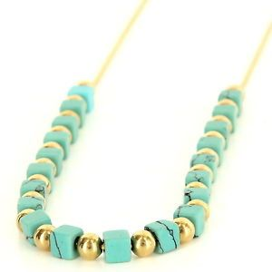 Vintage 14 Karat Yellow Gold Turquoise Cocktail Necklace Fine Estate Jewelry $395