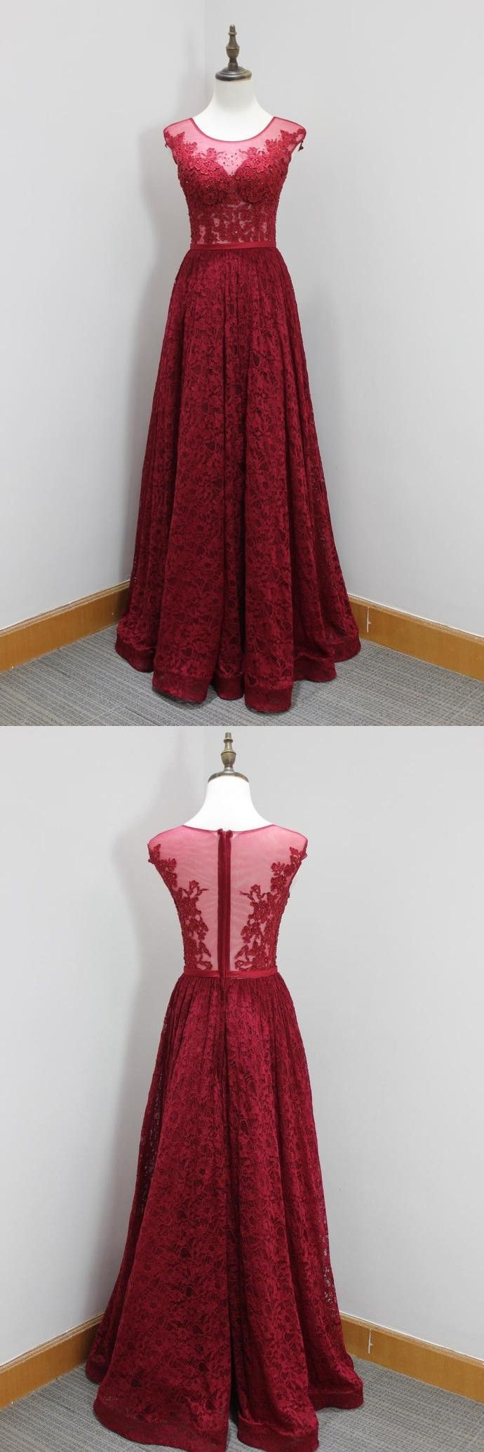 Aline round neck dark red lace prom dress with appliques beading in