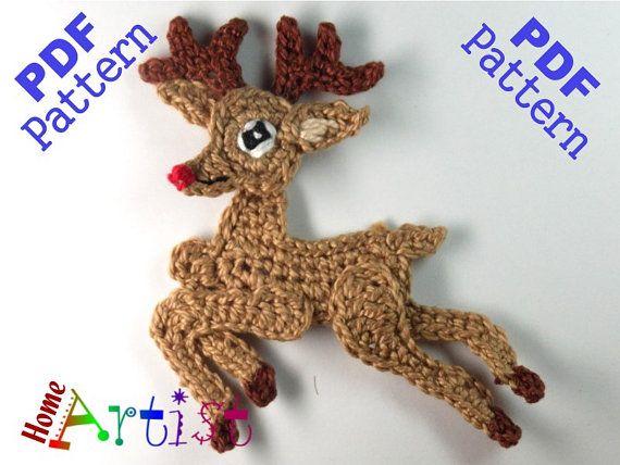 Xmas Reindeer Crochet Applique Pattern   Patrones De Ganchillo ...