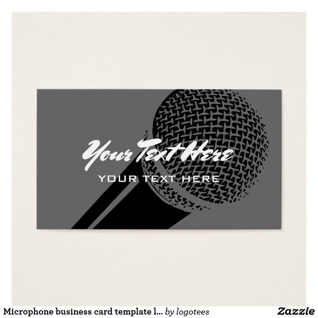 Microphone business card template logo design | Card templates ...