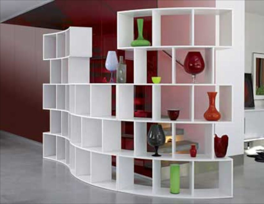 white shelves as room divider with curved design diy Pinterest