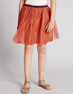 Midi Mesh Tutu A-Line Skirt (5-14 Years)