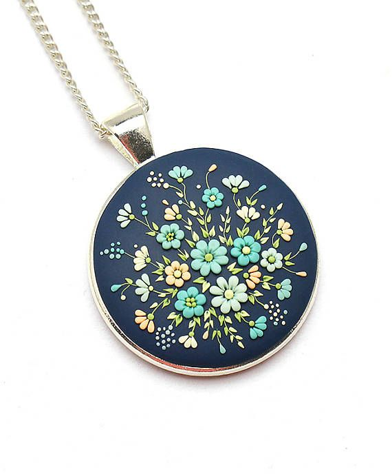 Blue polymer clay necklace pendant fashion jewelry polymer clay blue polymer clay necklace pendant fashion jewelry polymer aloadofball Choice Image