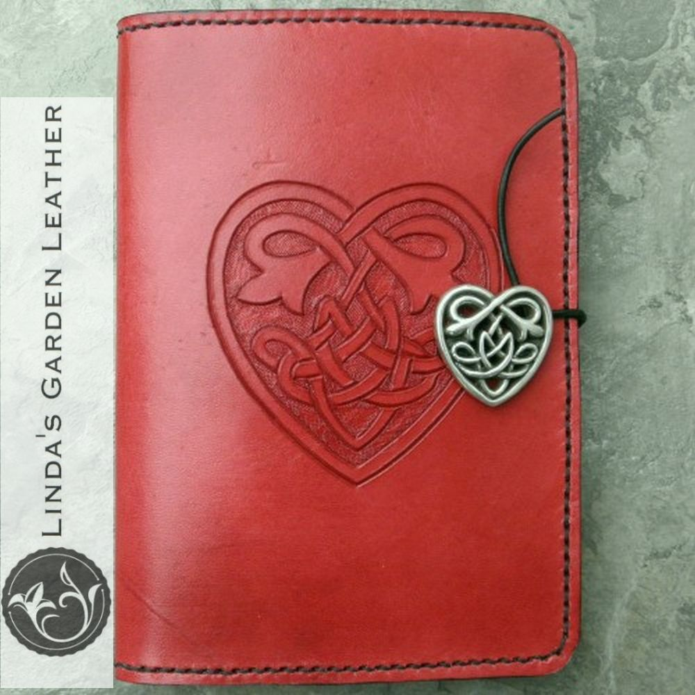 Handmade Genuine Leather Celtic Heart Kindle Cover | Leather