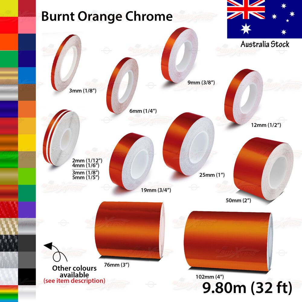 """1//8/"""" Vinyl Pinstriping Pin Stripe Car Styling Tape Decal Sticker 3mm RED CHROME"""