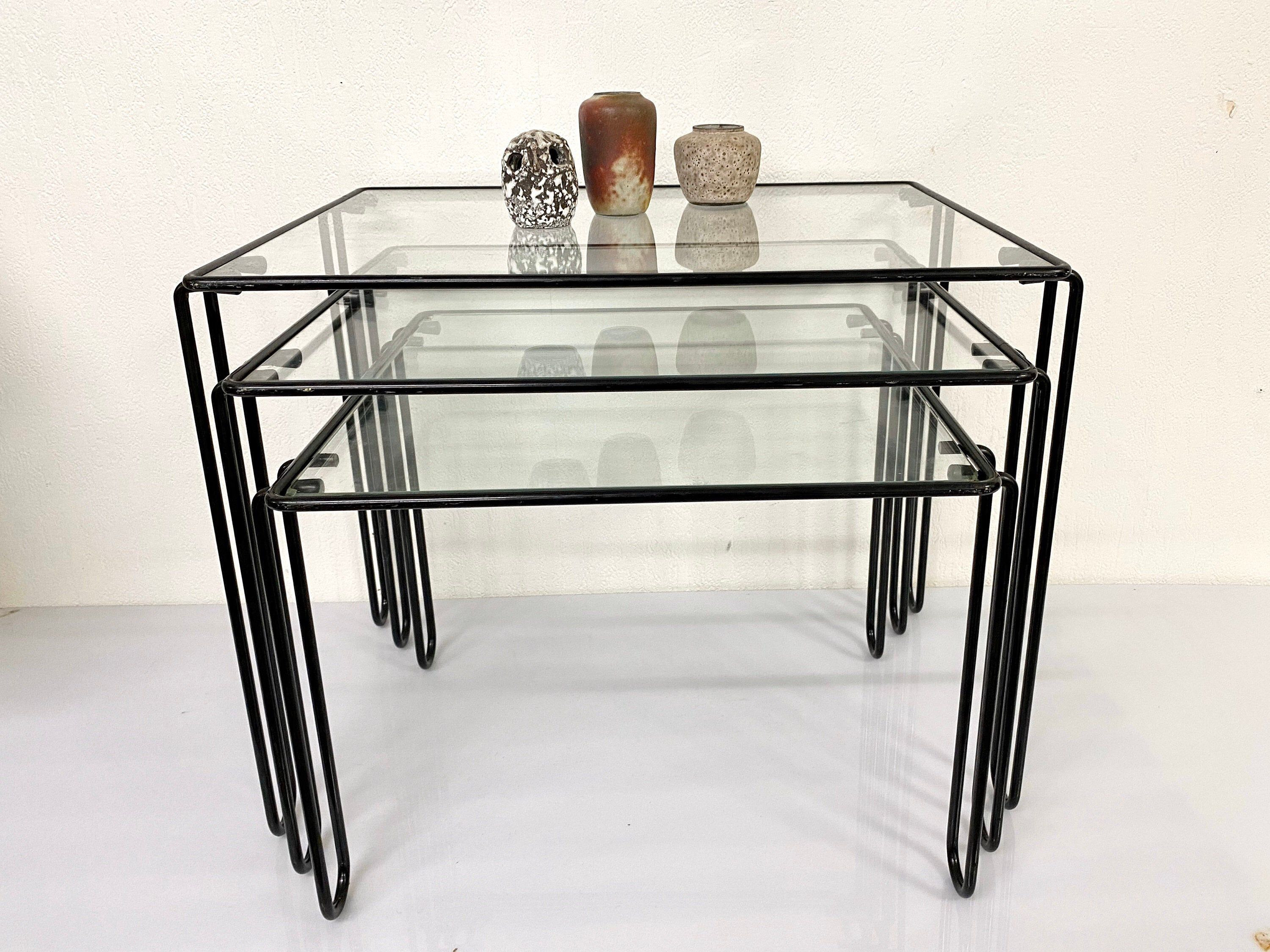 Vintage Nesting Tables With Loop Legs Pilastro Style Wire Etsy Nesting Tables Table Glass Top [ 2250 x 3000 Pixel ]