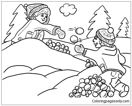 Kids Playing Snow In The Winter 1 Coloring Page Winter Coloring