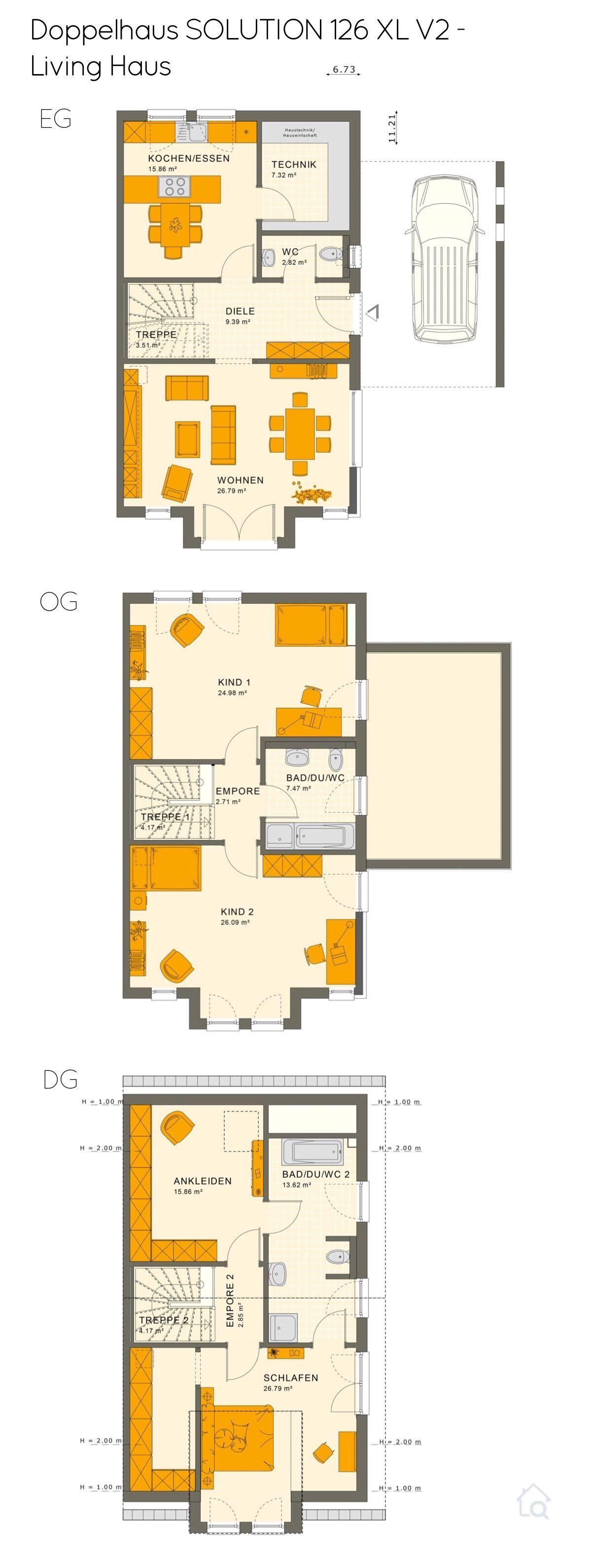 Doppelhaus Grundriss groß mit Satteldach & Carport Garage