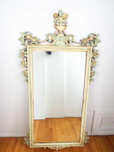 Vintage Large White Amp Green Shabby Distressed Wall Mirror Cottage Decor Style