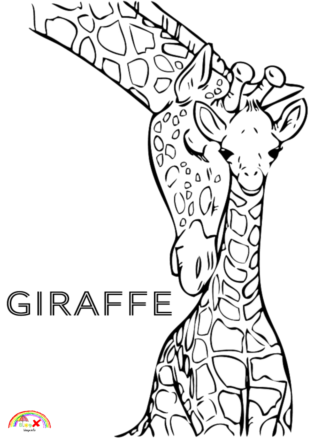 Girrafes Mom And Its Baby Coloring Page Realistic Wild Animal