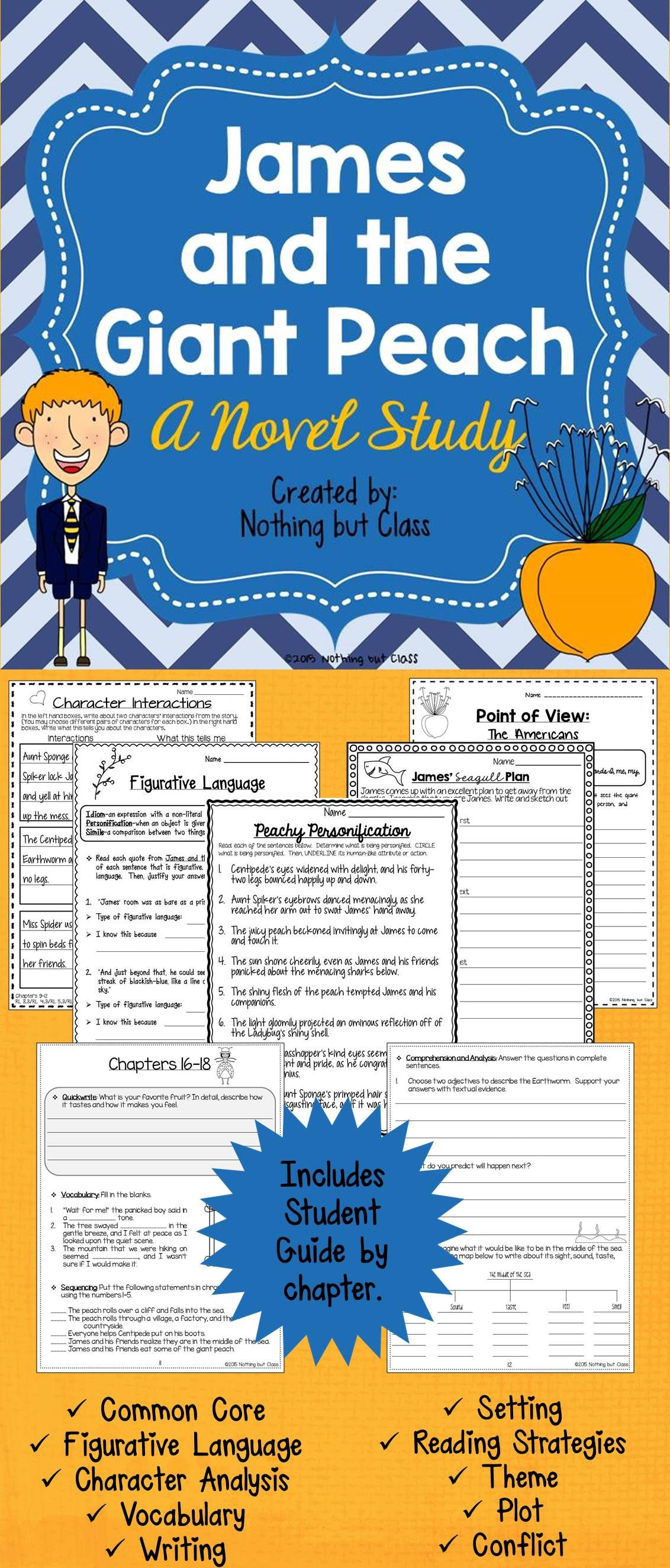 James And The Giant Peach Novel Study Unit:prehension, Activities, Tests