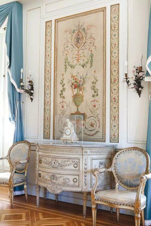 French decor Beautiful house Pinterest Cortinas azules - cortinas azules