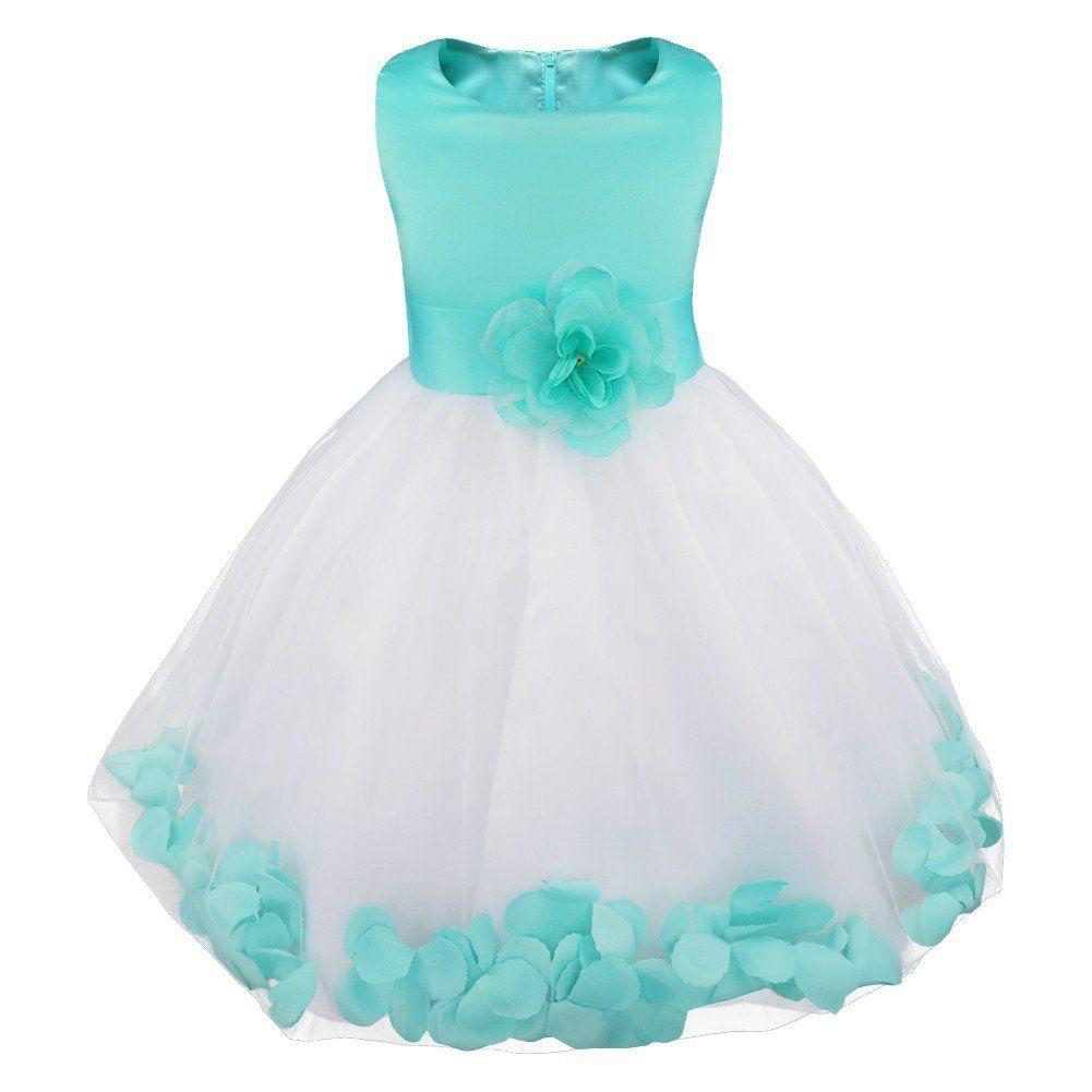 3c1c58a7c YiZYiF Flower Girl Dress Birthday Bridesmaid Formal Pageant Recital  Graduation (5, Turquoise).