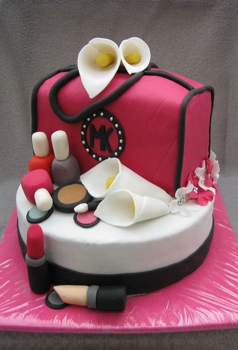 Handtaschen Torte Mit Schminke Und Callas Handtasche Torte Geburtstagstorte Kuchen Ideen