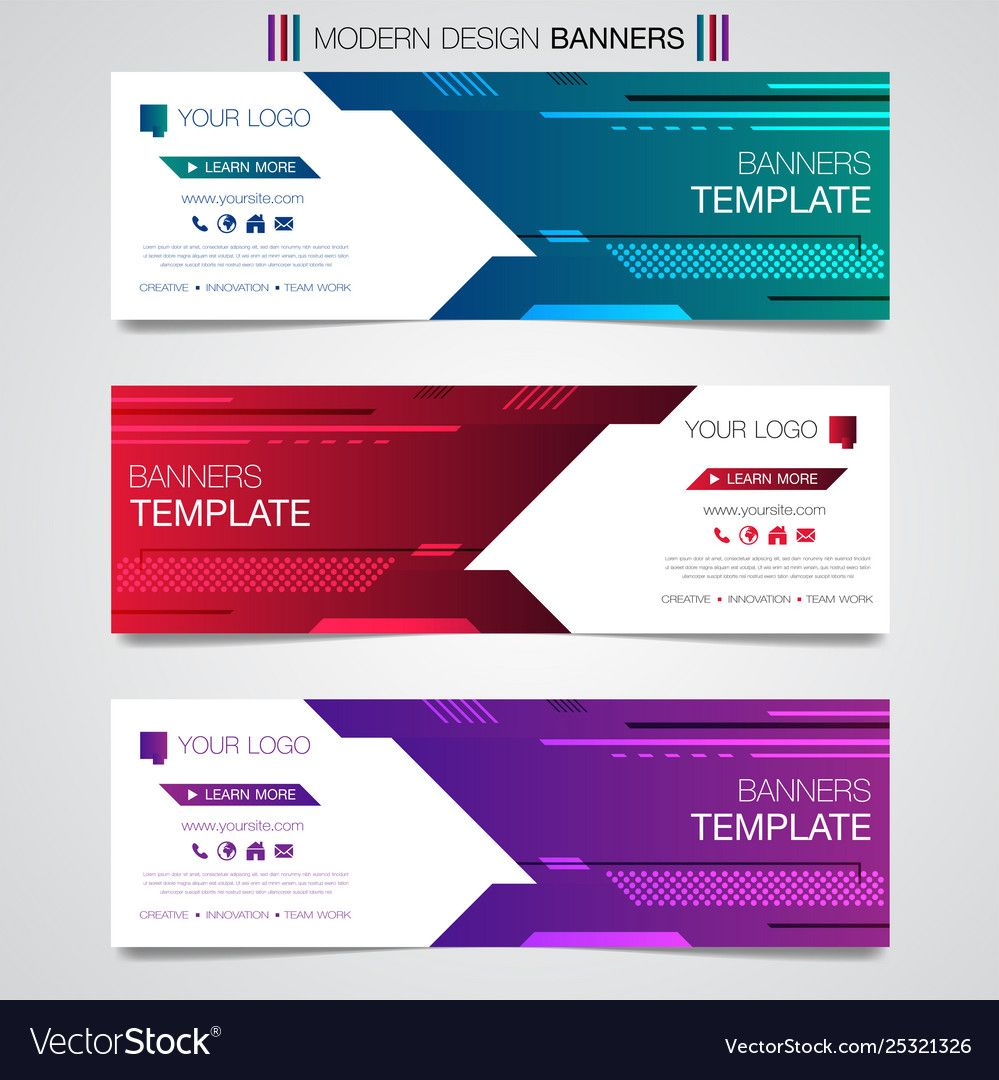 Abstract Horizontal Business Banner Geometric Shapes Design Web Set Template Background Or Header Templa Business Banner Banner Template Banner Template Design