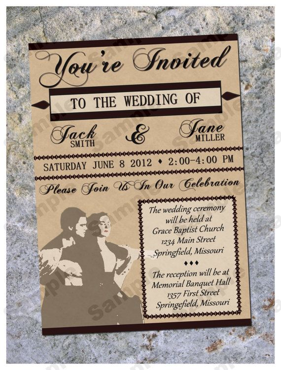 Wedding Invitation Personalized Vintage Titanic The Movie By