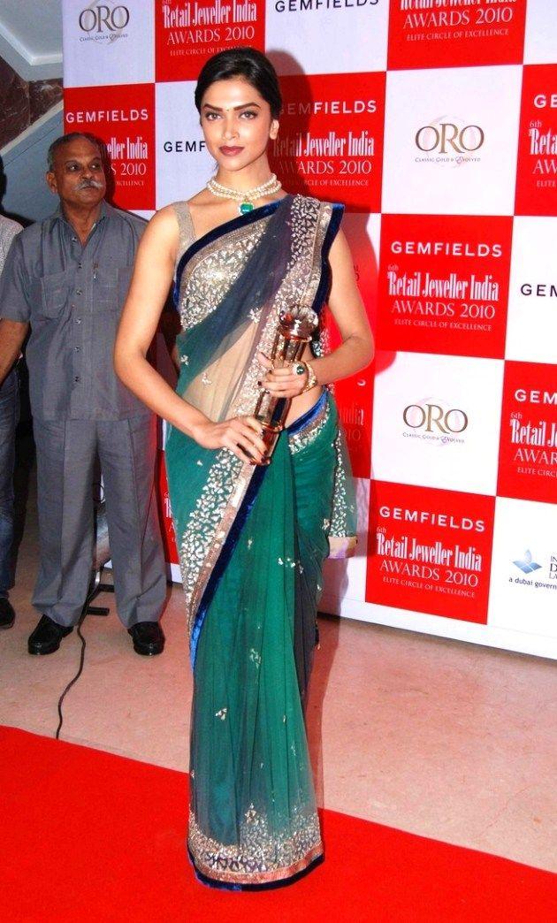 Deepika-Padukone-in-Green-Saree | Saree designs, Indian ...