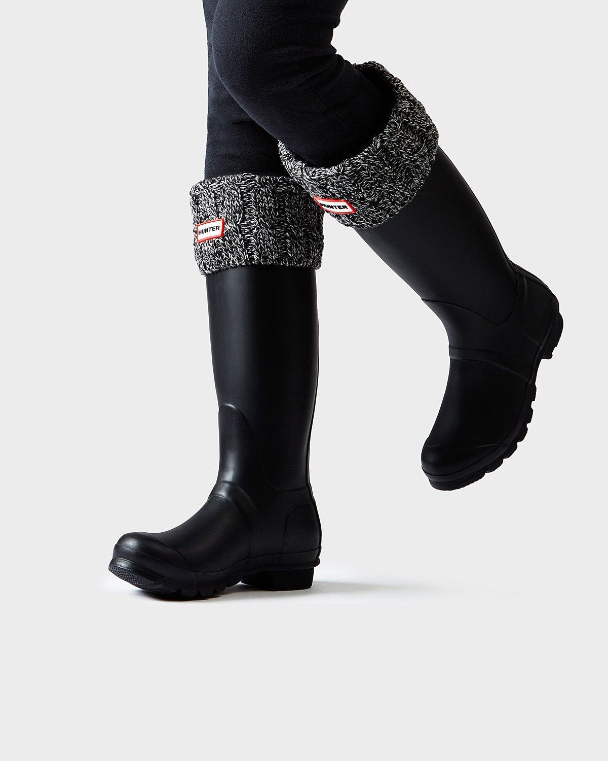 88bb61d7c5b73 Hunter Original Six-Stitch Cable Boot Socks: Black/Grey - M in 2019 ...
