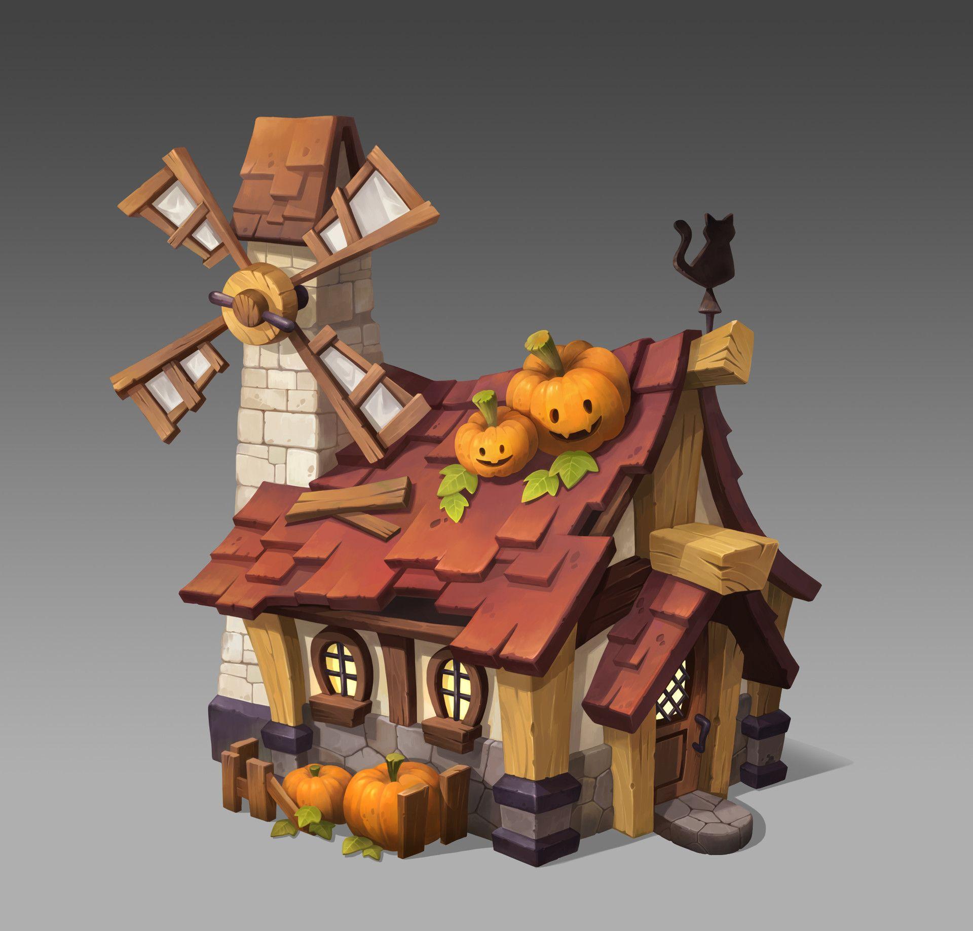 Artstation - Pumpkin Farmer' House Del Goni