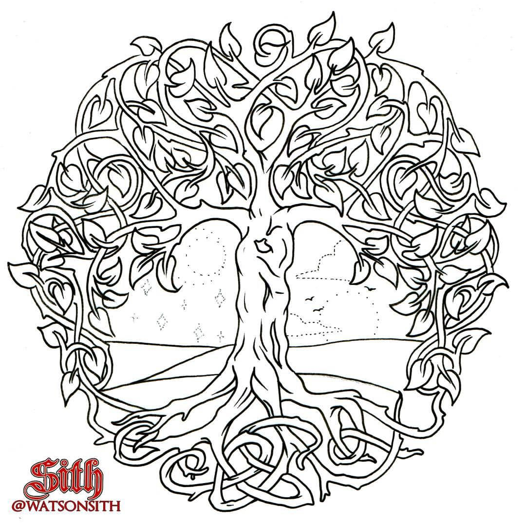Yggdrasil With Day And Night Scene Available Design Quite Big Would Fill A Calf Or Upper Arm 180 Set Price Yggdrasil Tattoo Tree Of Life Tattoo Celtic Art
