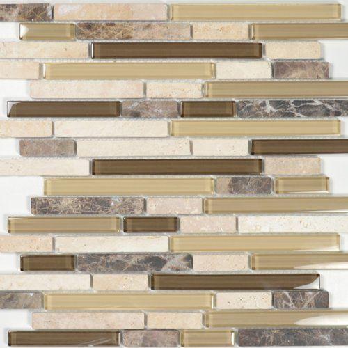 tan kitchen backsplash tile | Mocha Glass Tile Marble and Travertine ...