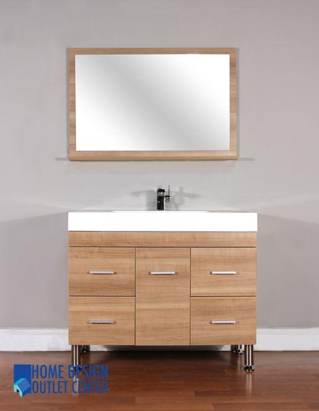 At 8041 Lo 39 Single Modern Bathroom Vanity Set Light Oak Home Design Outlet Center Modern Bathroom Vanity Modern Bathroom Bathroom Vanity