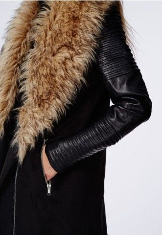 Orla Faux Fur Leather Biker Sleeve Coat - Coats & Jackets ...