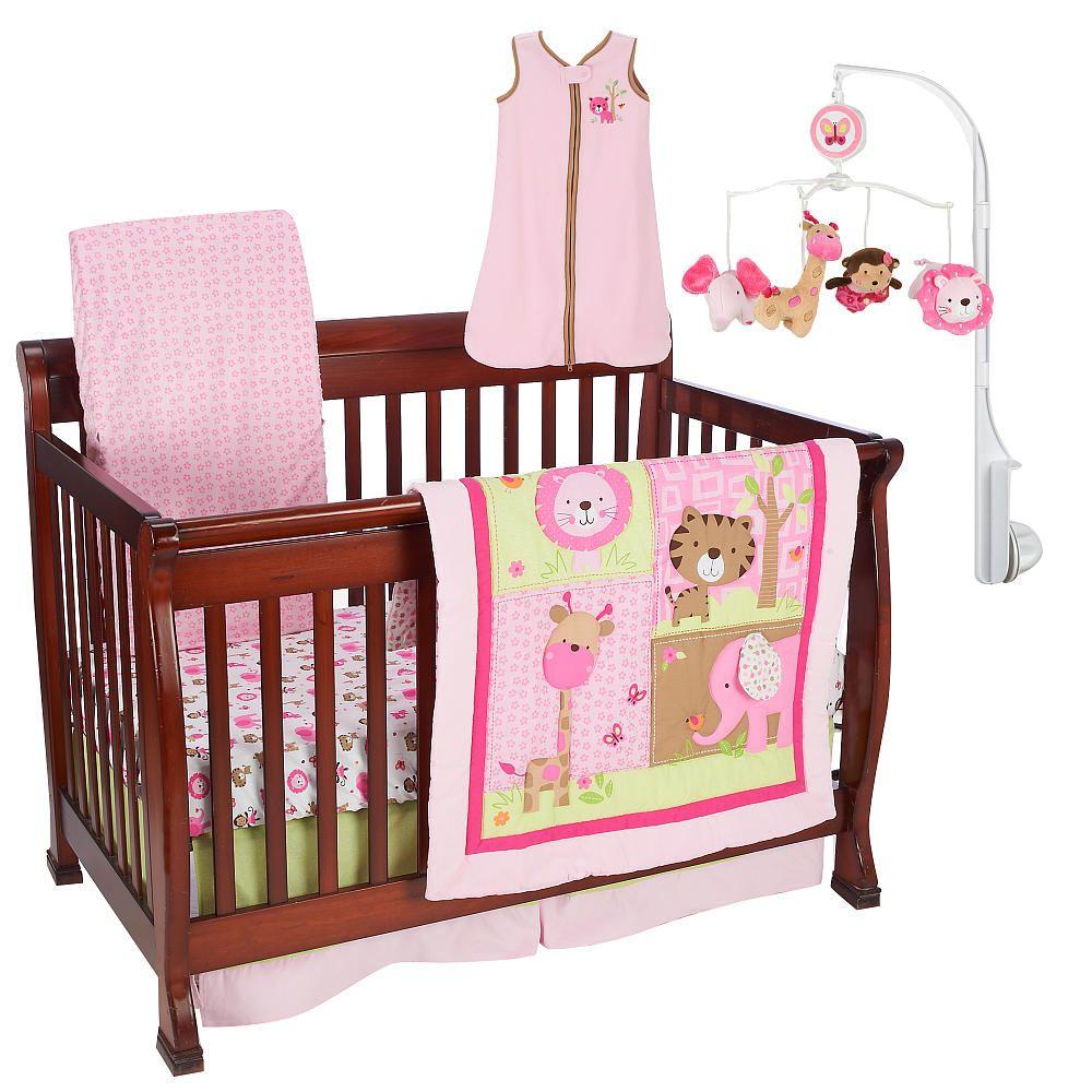 just born girls sassy safari 6 piece crib bedding set. Black Bedroom Furniture Sets. Home Design Ideas