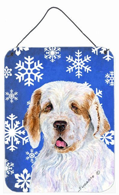 Clumber Spaniel Winter Snowflakes Holiday Wall or Door Hanging Prints