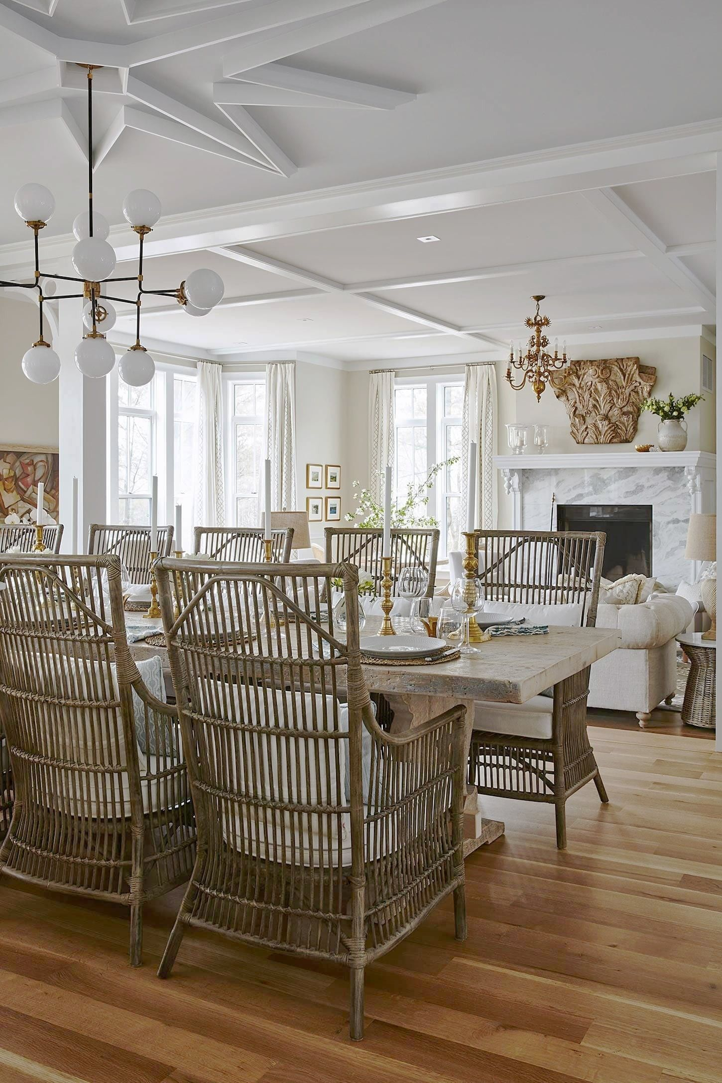 Sarah Off The Grid Dining Room Table Over Looking Fireplace And Seating Area