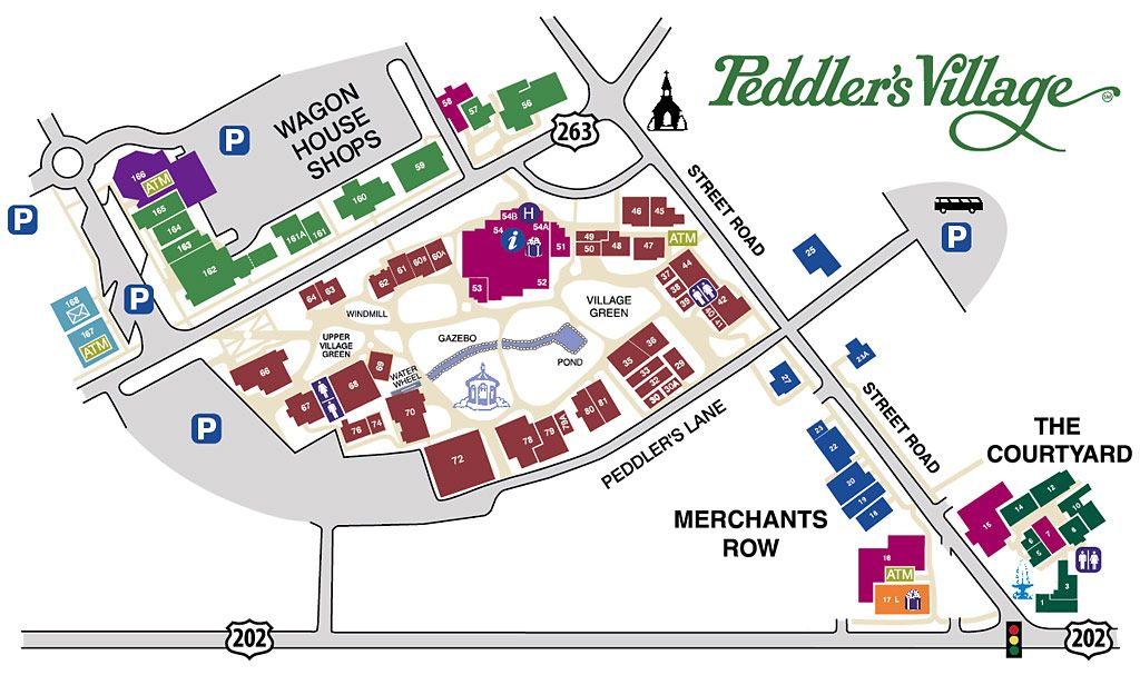 Peddlers Village Map Map | Travel | Village map, Map, Vacation places