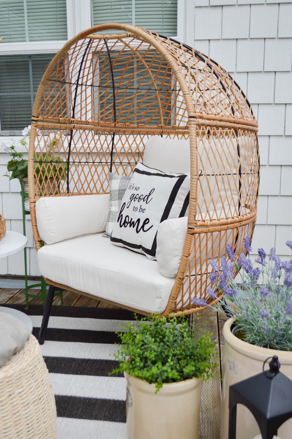 Cozy Spot For One Spring And Summer Deck Refresh Summer Deck Farmhouse Patio Patio Decorating Ideas On A Budget