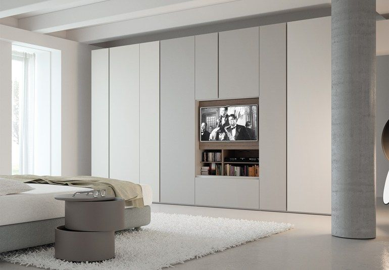 CONTEMPORARY STYLE SECTIONAL LACQUERED WOODEN WARDROBE WITH BUILT-IN TV GRAFIK | WARDROBE WITH BUILT-IN TV | CACCARO