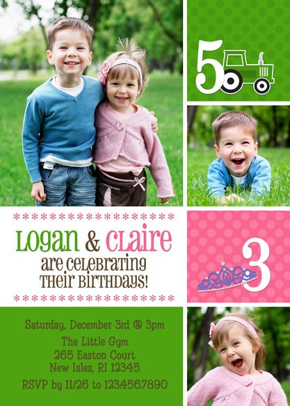 joint birthday party invitation boy & girl by periwinklepapery, Birthday invitations