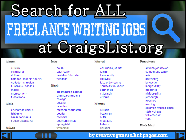 learn how to search craigslist for all freelance writing jobs in every state in the u s  and
