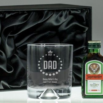 Engraved Dimple Base Tumbler and Jagermeister Set - Best Dad