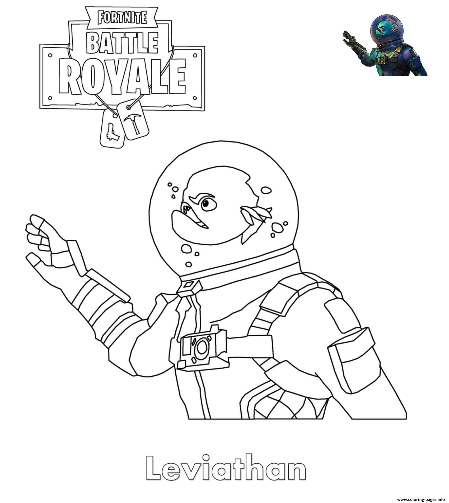 Print Fortnite Leviathan Skin Coloring Pages Jons 10th Birthday In