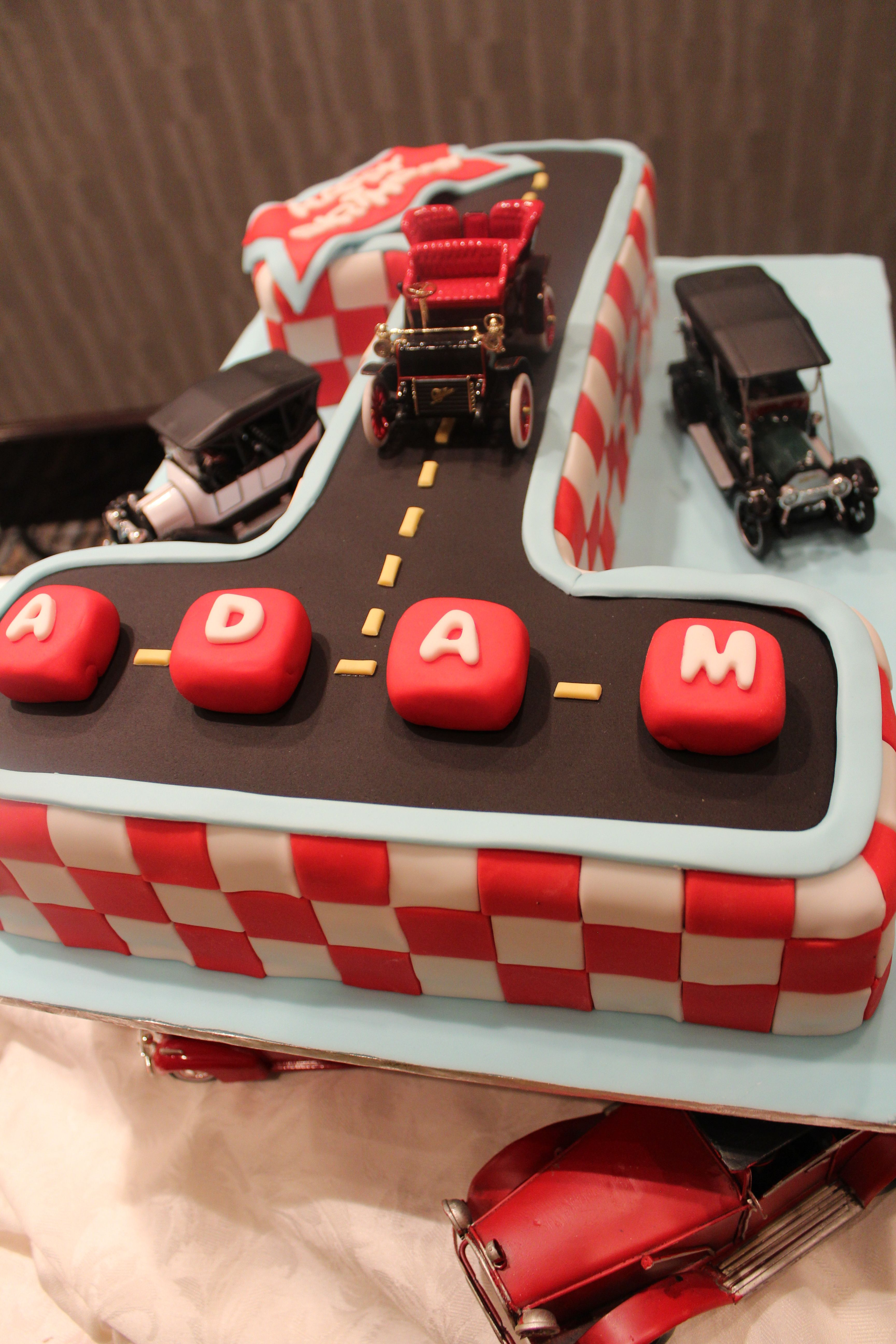 Phenomenal First Birthday Cake Vintage Cars Theme Vintage Cake First Funny Birthday Cards Online Hendilapandamsfinfo