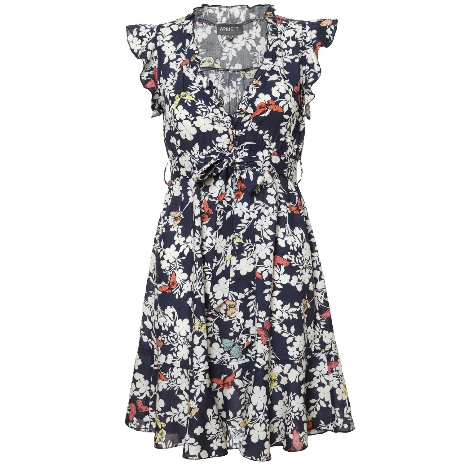Navy & White Butterfly Floral Print Tea Dress in TEA DRESSES from ...