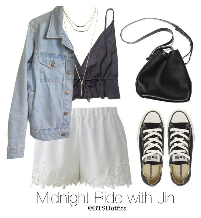 """""""Midnight Ride with Jin"""" by btsoutfits ❤ liked on Polyvore featuring Free People, Wet Seal, Chicwish, American Apparel, Converse and 3.1 Phillip Lim"""