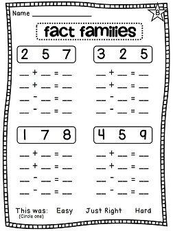 First Grade Math Unit 7 Missing Addends Fact Families True Or False Equations First Grade Math Fact Families Fact Family Worksheet