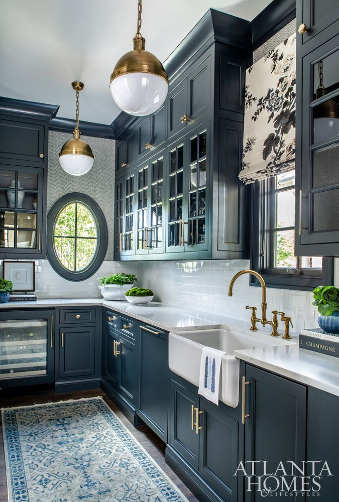 Photo of Dark blue butler's pantry with brass accents. Polished with Pizzazz – AH&L
