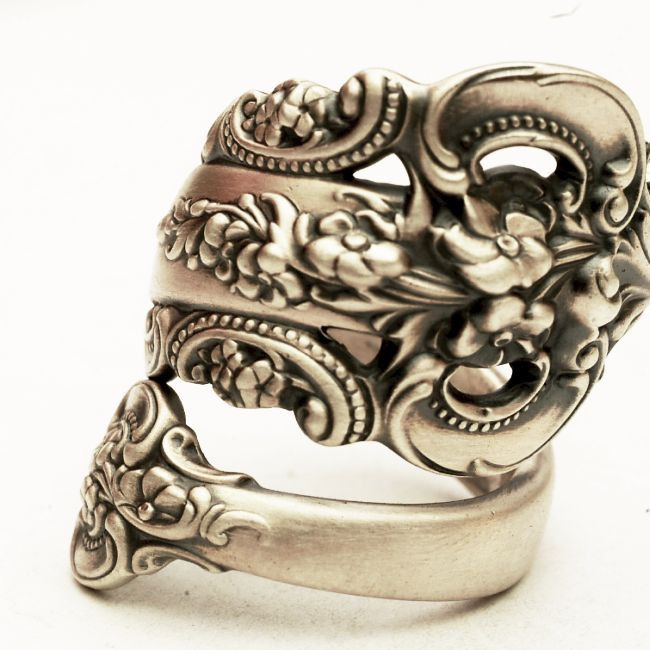 Vintage Spoon Ring, Grande Baroque Pattern by Wallace Sterling Silver Spoon Ring, Handmade in YOUR Size (3682). $69.00, via Etsy.