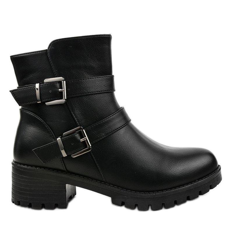 Czarne Plaskie Botki Bez Ocieplenia Zx2802 Boots Biker Boot Shoes