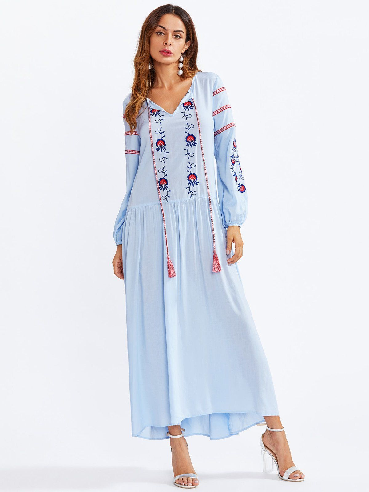 Tasseled tie neck embroidered smock dress tassels vacation wear