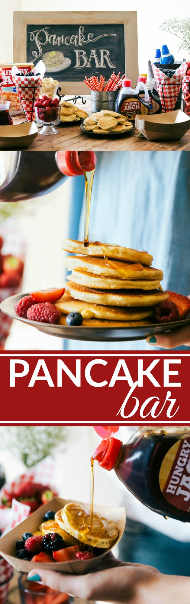 A great idea for a party, baby shower, wedding shower, birthday, etc. An easy PANCAKE BAR with a SPARKLING JUICE BAR! (Non alcoholic) Recipes via chelseasmessyapron.com #breakFEAST #sp