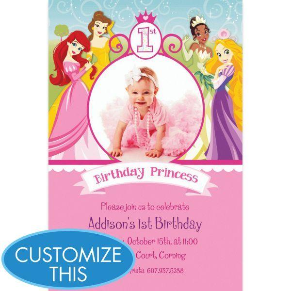 Disney Princess 1st Birthday Custom Photo Invitation