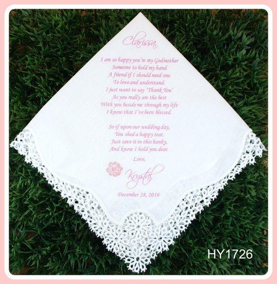 5087eb5d2c0ba6 Godmother of the Bride or Groom Gift Hankerchief-Wedding Handkerchief -PRINTED-CUSTOMIZED-Wedding Hankerchief-Godmother Gift from the bride